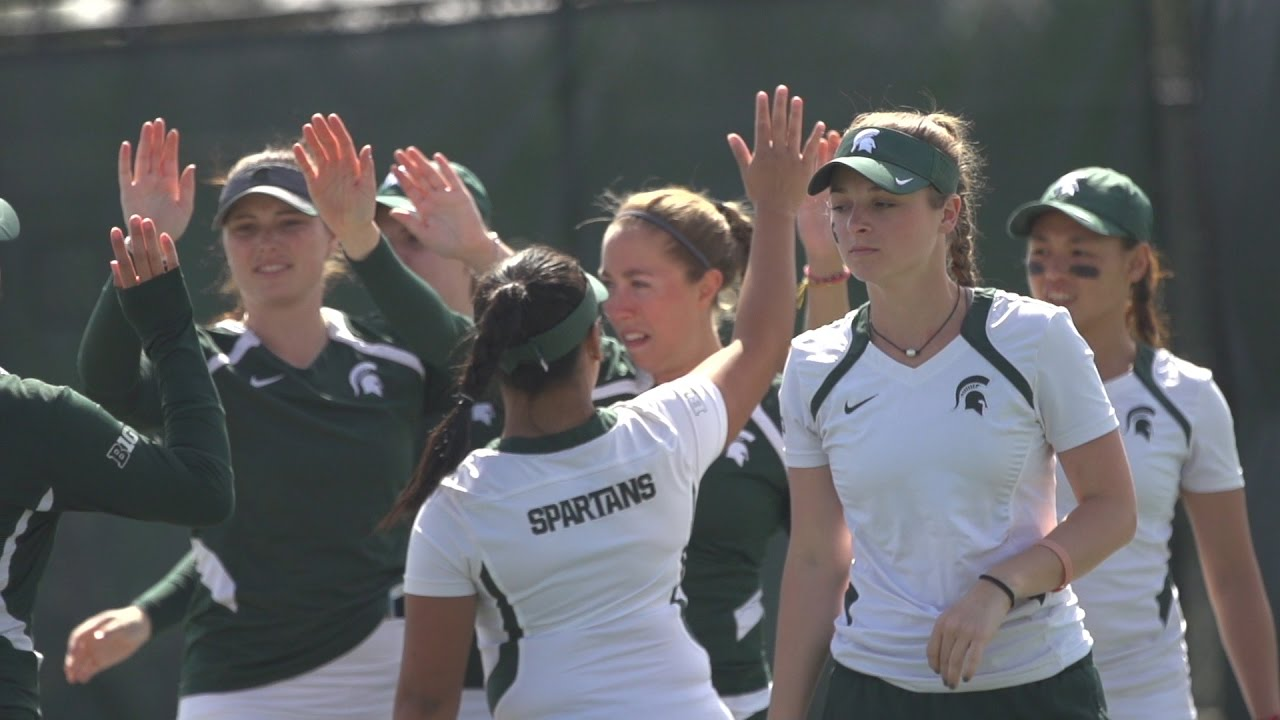 Michigan State Women's Tennis Sweeps Wisconsin, 4-0 - YouTube