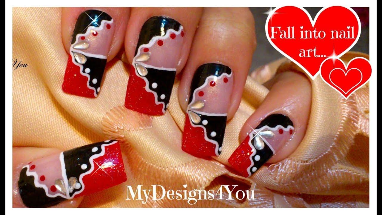 Red and Black Abstract Nail Art | Nail Art for Long Nails ...