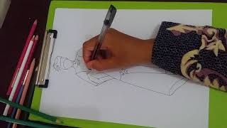 menggambar desain baju muslim simpel