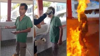 (足本)男子疑因政見問題被圍堵 遭淋易燃液點火成火人(2019-11-11)