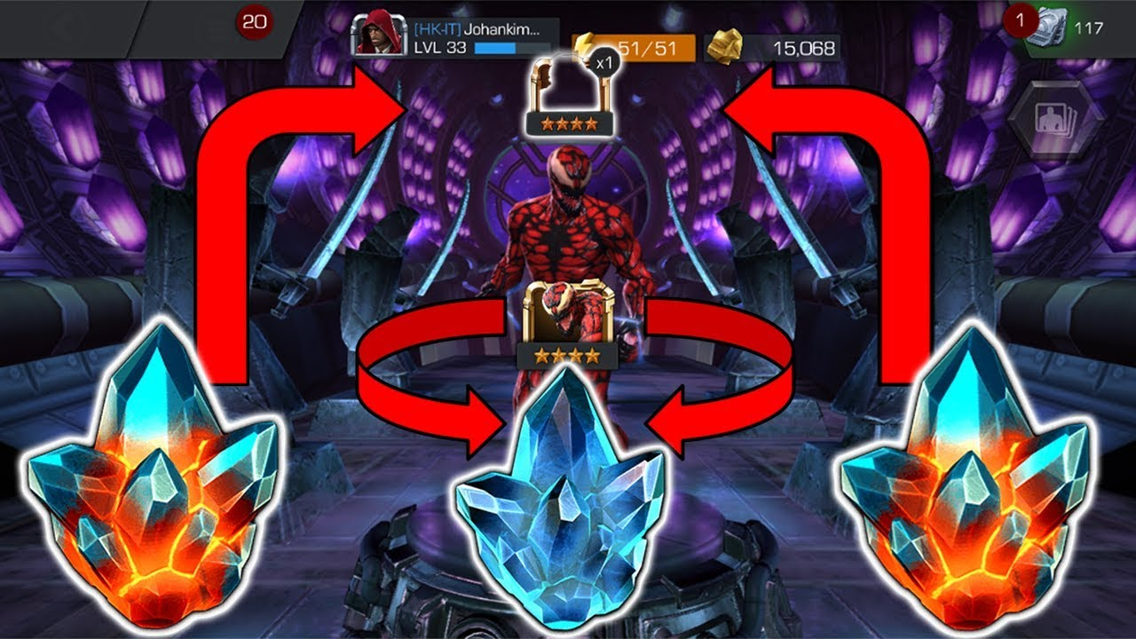 GOT A 4 STAR FROM 2 PREMIUMS AND A 4 STAR CARNAGE FROM THE LOGIN CRYSTAL!  (NEW THEORY?) (MCOC)