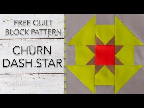 FREE Quilt Block Pattern: Churn Dash Star