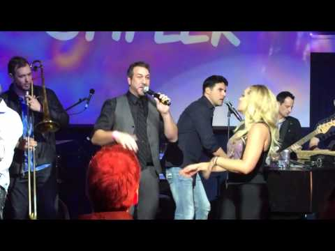 "Joey Fatone sings ""Bye Bye Bye"" with trombones and Lacey Schwimmer"