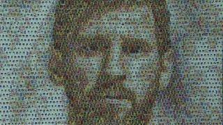 Une fresque de Messi réalisée avec des autocollants