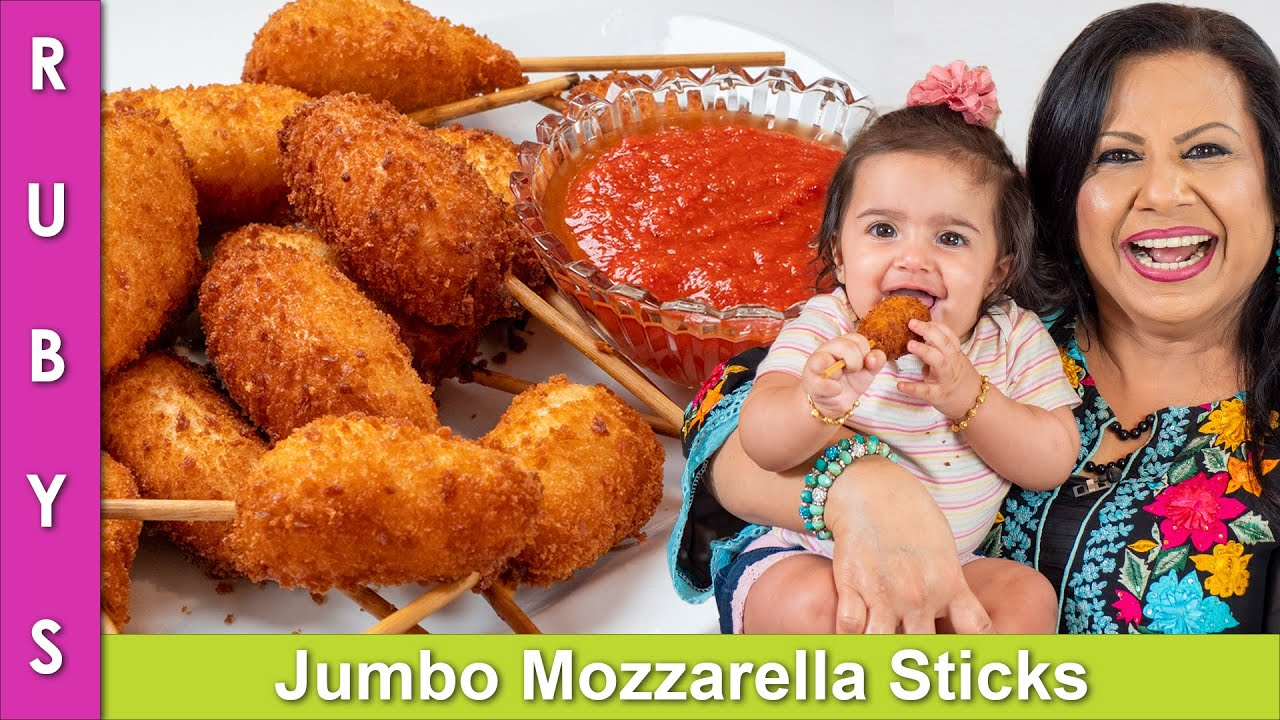 My 6 Month Old Granddaughter Tries my Jumbo Mozzarella Sticks Recipe in Urdu Hindi  - RKK
