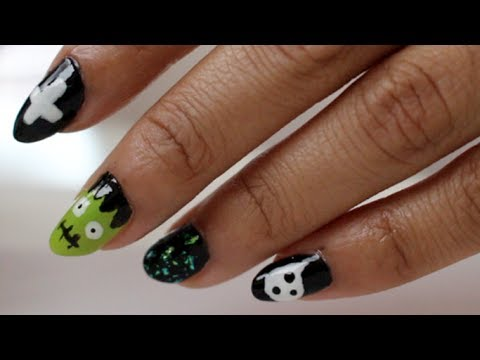 cute  easy halloween nail art   youtube