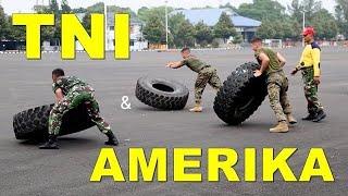 Marinir Amerika dan marinir Indonesia (TNI) latihan bersama di cilandak, indonesia.