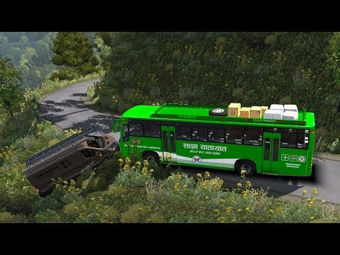Nepal Online Games - sajha bus himalaya dangerous roads | 1.30 ETS2 bus mod