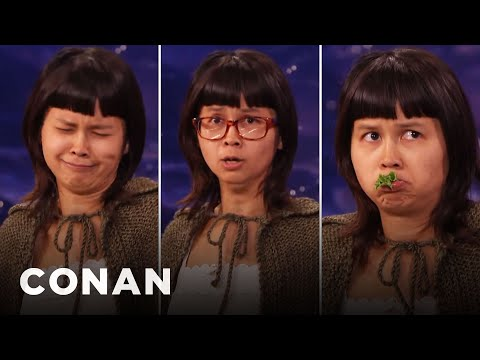 Charlyne Yi Does An Impression Of A Turtle - Conan Loses It