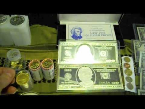 Silver bars  silver coins Gold coins gold bars