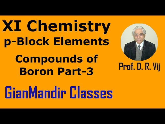 XI Chemistry | p-Block Elements | Compounds of Boron Part-3 by Ruchi Mam