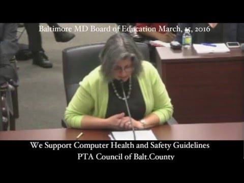 """We support developing computer health and safety guidelines"" PTA Council of Baltimore County"