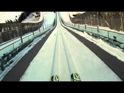 Go Pro Hero HD Ski Jump  Holmenkollen Oslo plenty km/hr on launch HELMETCAM NORWAY