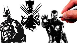 Drawing Wolverine, Iron Man & Batman in Black and White