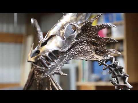 Metal Dragon sculpture! Hand Forged lifesize dragon Metal Art Blacksmithing Medieval dragon