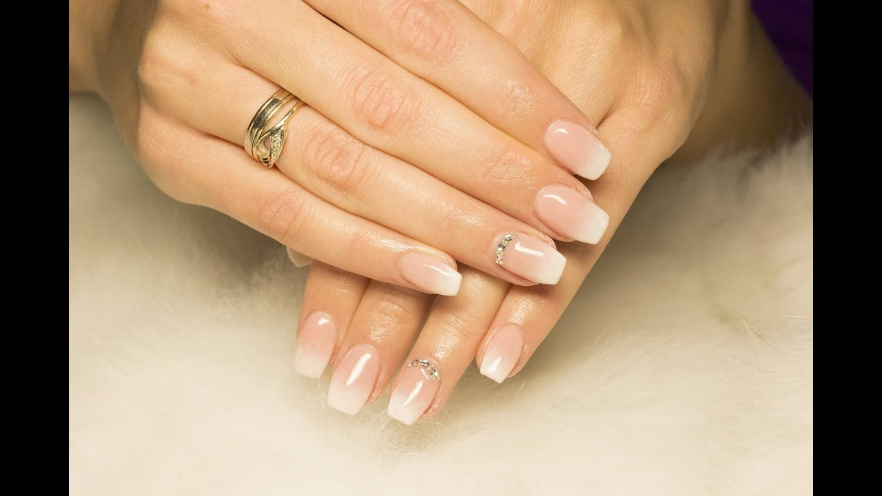 French ombre nails - YouTube
