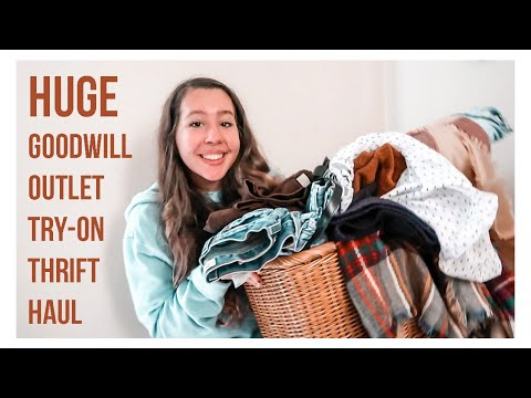 HUGE Goodwill Outlet Try-On Thrift Haul | my first impression & experience