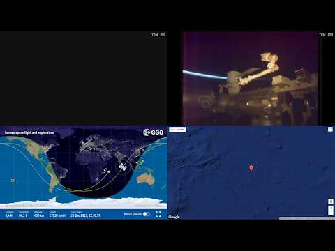Robotic Arm And Space-X CRS-13 Unloading - Space Station Earth View LIVE NASA/ESA Cameras And Map 4