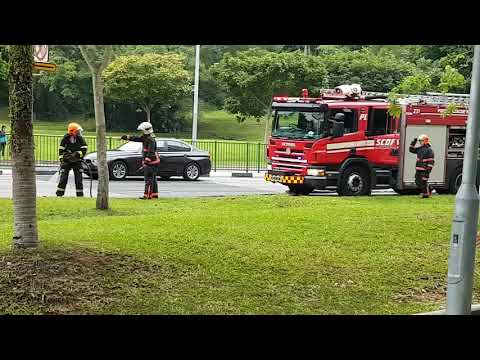 SCDF putting out fire -car caught fire at pasir ris near dow