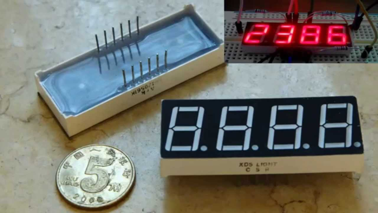 Control a 4 Digit 8-Segment LED Display Arduino - YouTube