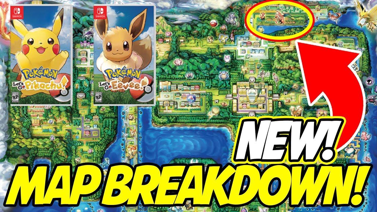 carte pokemon let s go NEW KANTO MAP BREAKDOWN! Pokemon Let's Go Pikachu & Eevee