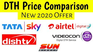 All DTH Connection Price Comparison 2020 | Tata Sky vs Airtel DTH vs Dish TV vs d2h vs Sun Direct
