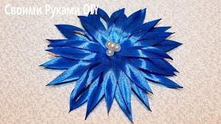 Цветок КАНЗАШИ из Узкой Ленты Мастер Класс/ DIY Kanzashi Flower