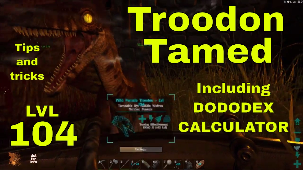 ARK - Troodon LVL104 tamed - Including Calculator - Used quetzal babies