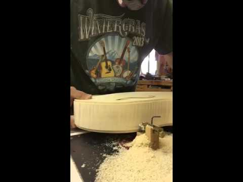 Mandolin construction.  Cutting binding channel with Clark Mandolins
