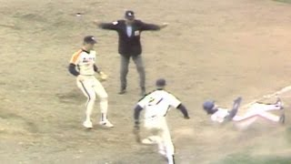 1986NLCS Gm3: Backman leads off 9th with bunt single