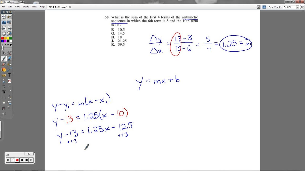 act question 58 arithmetic sequences youtube