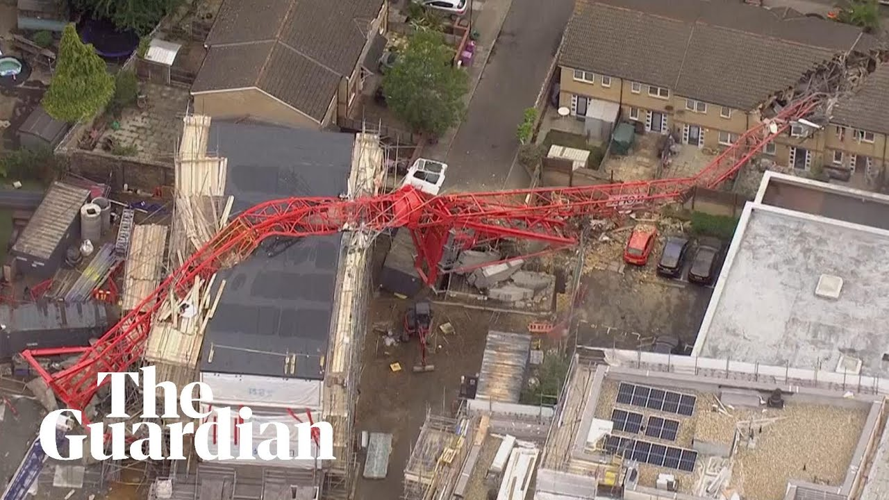 Crane Collapses Into Building In East London Youtube