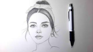 Adım Adım Kalpli Küpeli Kız Portre Çizimi - Step by Step Girl with a Heart Earring Portrait Drawing