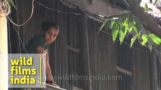 Girl with hauntingly beautiful gaze watches funeral procession on Kolkata streets
