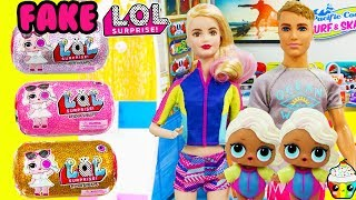 LOL Surfer Babe Family Meets LQL Dolls FAKE LOL Unboxing