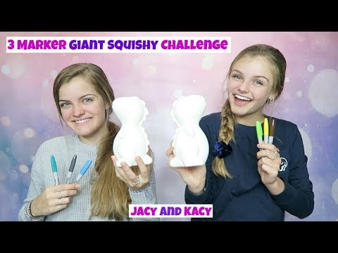 3 Marker Giant Squishy Challenge ~ Jacy and Kacy