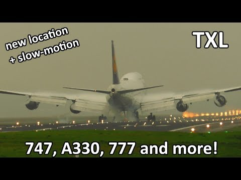 BUSY DAY! Planespotting at Berlin Tegel Airport: 747, 777, A330 | New Location + Slow Motion!