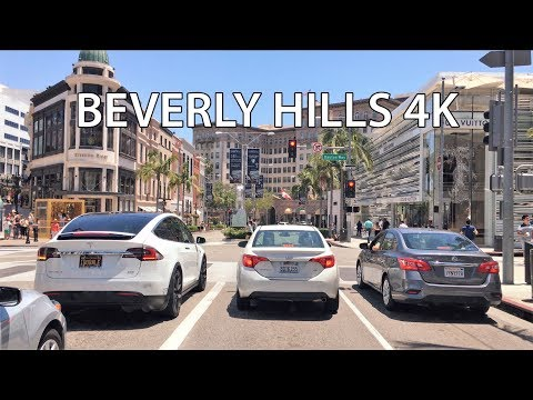 Driving Downtown - Beverly Hills 4K - USA