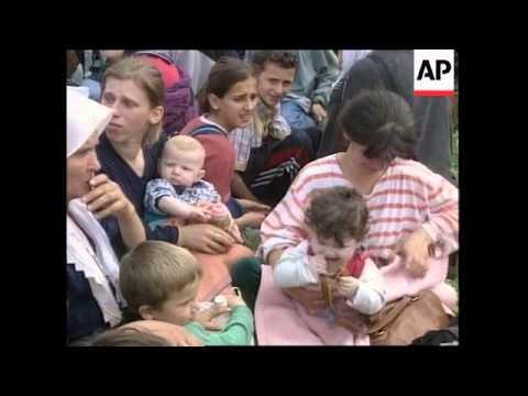 Ethnic Albanian refugees flee fighting in Vaksince.