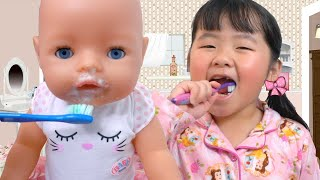 Baby Doll and Children Morning Routine and Brushing Teeth