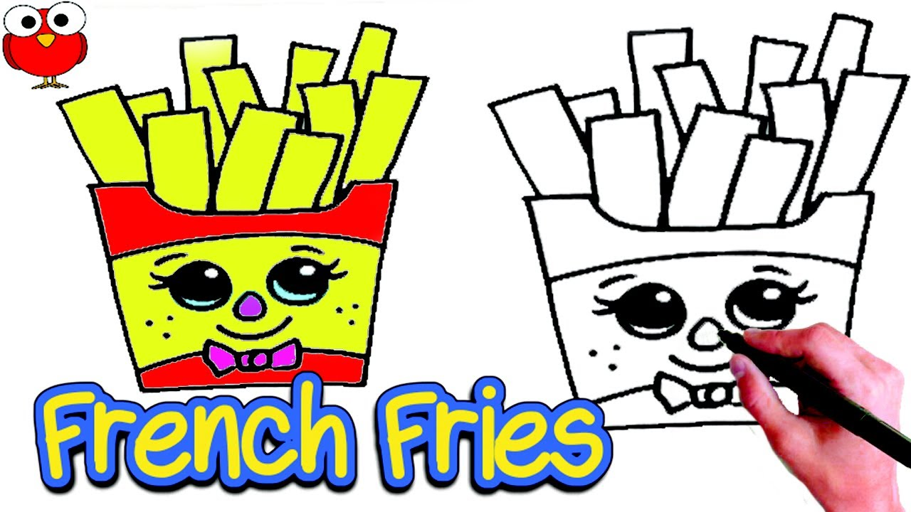 How To Draw Cute French Fries Step By Step For Kids Lesson Easy