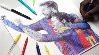 Messi & Neymar Jr Pen Drawing - ULTIMATE COMEBACK - FC BARCA - DeMoose Art