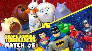 Secret Life of Pets vs Superheroes Justice League & Avengers Shake Rumble Tourney Match #6 | KIDCITY