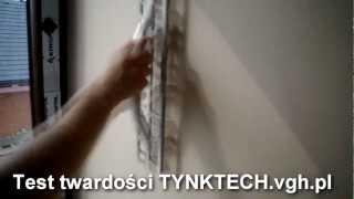 Tynk-Tech test twardości Knauf  Diamant.Tynki gipsowe twardsze niz tynk cem-wap.Tynki Krakow