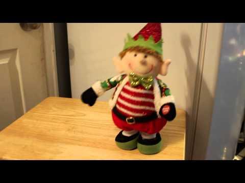 Jumping, Singing, Elf w/Light Up Cheeks Singing Jingle Bells, Entertaining