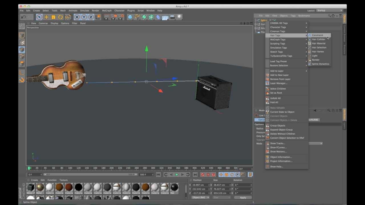 Cinema 4D Tutorial: Connecting Dynamic Splines to Objects