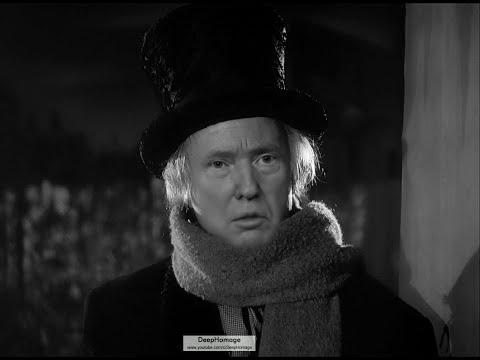 "Donald Trump as Ebenezer Scrooge in ""A Christmas Carol"" (deepfake)"