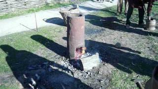 Bloomery furnace at International Vikingmarket Ribe