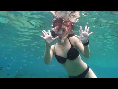 水中映像 水着で餌付け(Feeding underwater)