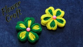 Easy Flower Making Out Of Wool and Comb | Woolen Flower Making